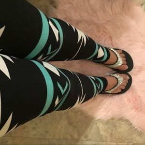 New Mint Blue + Black Tribal Legging